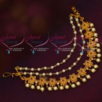 Ruby AD Stones Floral Design Earchain Mattal Latest Imitation Accessory Online