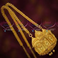 Gold Plated Ghajiri Chain Temple Pendant Traditional Design Imitation Jewellery