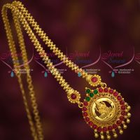 Gold Plated Kemp Temple Jewellery Chain Pendant Latest South Indian Designs