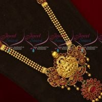 Reddish Yellow Gold Plated Temple Long Necklace Traditional Design Imitation Jewellery