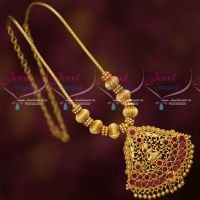 Gold Covering Temple Jewellery Trendy Design Kemp Stones Pendant Online