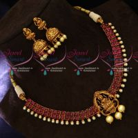 Real Kemp Square Stones Gold Design Temple Jewellery Necklace Set Online