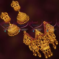 Shiv Durbar Temple Jewellery Pendant Jhumka Set Reddish Gold Plated Traditional Designs
