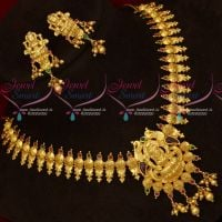 One Gram Gold Temple Jewellery Necklace Latest Design Screw Lock Ear Studs Shop Online