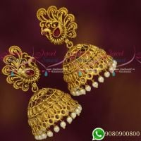 Antique Peacock Matte Finish Jhumka Earrings Latest Light Weight Jewellery Designs
