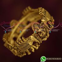 Broad Temple Bahubaali Design Single Piece Kada Bangle Antique Gold Plated