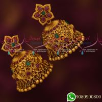 Stylish Intricately Designed Peacock Floral Broad Big Jhumka Earrings Grand Jewellery