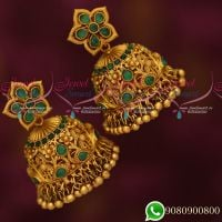 Stylish Intricately Designed Emerald Peacock Floral Broad Big Jhumka Earrings Grand Jewellery