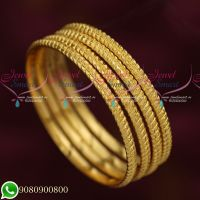 Daily Wear 4 Pcs Gold Plated Bangles Traditional Design Jewellery Online