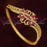 Ruby White Stones Beautiful Design Gold Plated Imitation Kada Latest Jewellery Collections