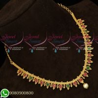 Simple Trendy Gold Plated Daily Wear Imitation Necklace South Indian Collections