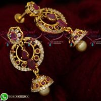 Gold Plated Ruby White AD Stones Jewellery Chandbali Screwback Earrings Designs