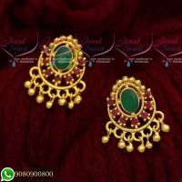 Ear Studs Designs For Women South Indian Screwback Gold Covering Earrings