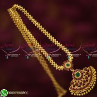 Gold Plated Chain Pendant Ruby Emerald Stones Daily Wear Wholesale Prices Online