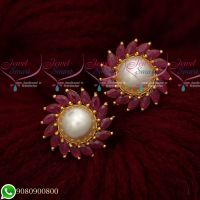 Traditional Design Round Ear Studs Ruby Pearl Gold Plated Screwbaack Earrings
