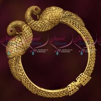 Antique Gold Finish Intricately Designed Open Kada Bracelets Imitation Jewellery Collections