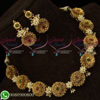 Pearl Floral Design 3D Necklace Antique Jewellery Collections Matching Earrings