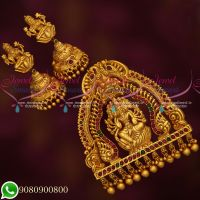 Intricately Designed Temple Jewellery Antique Matte Finish Grand Pendant Set Online