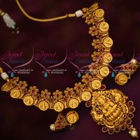 Temple Coin Necklace Matte Look Reddish Gold Traditional Designs Online