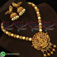 Temple Jewellery Matte Gold Antique Pearl Mala Nagas Latest Real Look Design Collections Online
