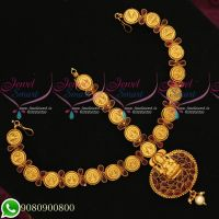 Temple Red Kemp Jewellery Coin Engraved Design Damini Bridal Matha Patti Online