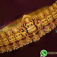 Bridal Grand Temple Jewellery Gold Plated Vaddanam Gheru Reddish Yellow Colour