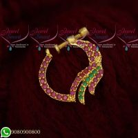 Fancy Design Ruby Emerald Jewellery Nath Nose Pin Mookuthi Screw Lock Online