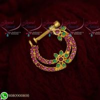 Non Pierced Nose Ring Nath Designs AD Ruby Emerald Stones Online