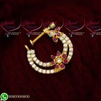 Non Pierced Nose Ring Nath Designs AD Ruby Stones Online