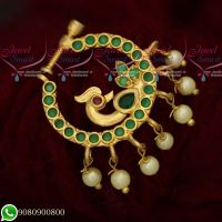 AD Gold Plated Jewellery Non Piercing Nose Pins Emerald Green Stones