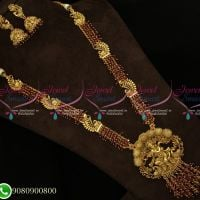 Antique Gold Plated Temple Long Necklace Haram Red Crystals Online