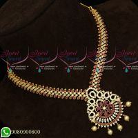 American Diamond Stones Gold Plated Fashion Jewellery Necklace Without Earrings