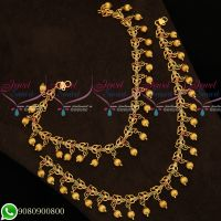 Matte Reddish Gold Plated Payal AD Stones Beads Drops Fancy Designs Online
