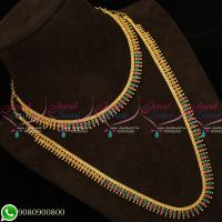 Gold Plated Necklace Haram Designs Combo Jewellery Bridal AD Marquise Stones