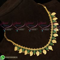 Green Coin Temple Mango Kasumala South Indian Traditional Gold Plated Necklace