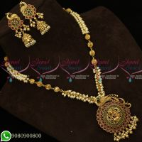 Kemp Red Green Stones Antique Temple Jewellery Pearl Mala Peacock Design Shop Online