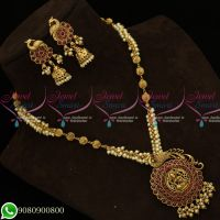 Kemp Red Stones Antique Temple Jewellery Pearl Mala Peacock Design Shop Online