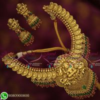Temple Jewellery Coin Laxmi Mango Design Antique Gold Plated Traditional Collections