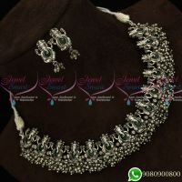 Lord Ganapathy Temple Jewellery Silver Oxidised Plating Green Stones Antique Collections