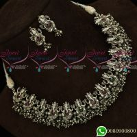 Silver Oxidise Plating Lord Ganapathy Ruby Emerald Temple Jewellery d Plating Antique Collections