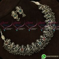 Silver Oxidised Plating Lord Ganapathy Navratna Stones Temple Jewellery Plating Antique Collections