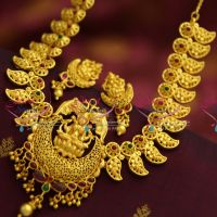 42e175c5322 NL2782 One Gram Gold Plated Temple Kemp Mango Design Jewellery Traditional  Necklace Set