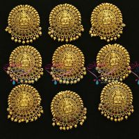 41f2965f47e H3653 Lakshmi Nagas Temple Jewellery Antique Gold Plated Hair Decoration  Hook Type Choti 9 Pcs Set