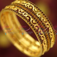 maroon-colour-stones-gold-plated-traditional-floral-design-bangles-south-indian-jewellery-online